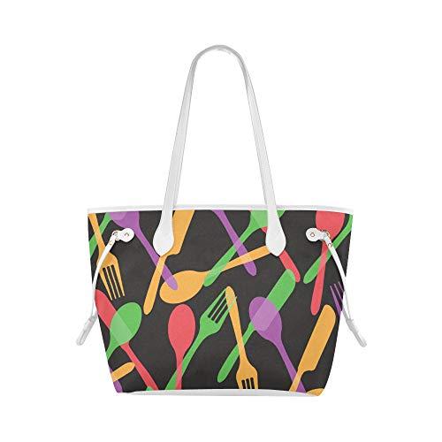Print Shoulder Bag Knife And Fork Eating Tool Teen Shoulder Bag Tote Bags Travel Large Capacity Water Resistant With Durable Handle