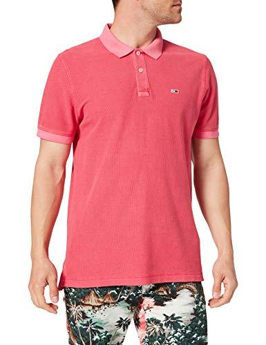 Tommy Jeans TJM Garment Dye Polo Camisa, Rosa Cereza Brillante, L para Hombre
