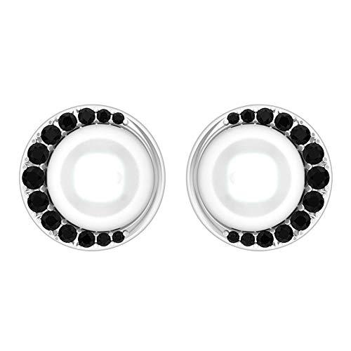 Rosec Jewels 750 oro blanco redonda Black White Ónix negro Perla de agua dulce