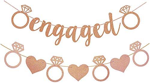 Banner de oro rosa con purpurina comprometida con corazón y anillo de diamante para bodas y fiestas de compromiso (preencadenado)