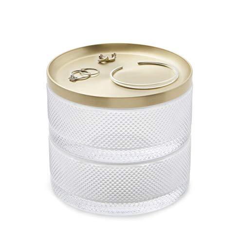 Recet Caja de joyería caja de joyería, caja de regalo de joyería de latón, anillos de almacenamiento, collares, pulseras, adecuado para mujeres y niñas almacenamiento de joyas