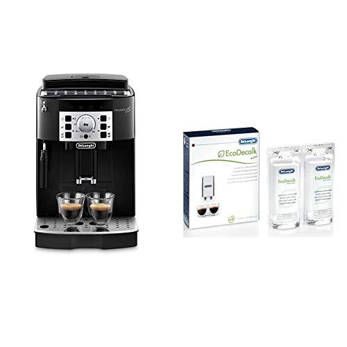 De'Longhi Magnifica S, Automatic Bean to Cup Coffee Machine, Espresso and Cappuccino Maker, ECAM22.110.B, Black & EcoDecalk Mini 2 x 100ml Descaler (Pack of 1)-White
