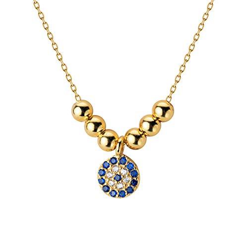 mingtian 100% joyería de Plata esterlina 925 6 mm Ojo Azul CZ Colgante 40 cm Collar de clavícula Corta Regalo de Boda para Mujer DS979