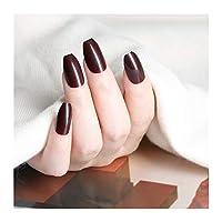 24ピースの光沢のある自然なピンクの人工的な偽の爪の短いバレリーナの偽釘のデザインのフルカバーの指先マニキュアツール (Color : P87X)