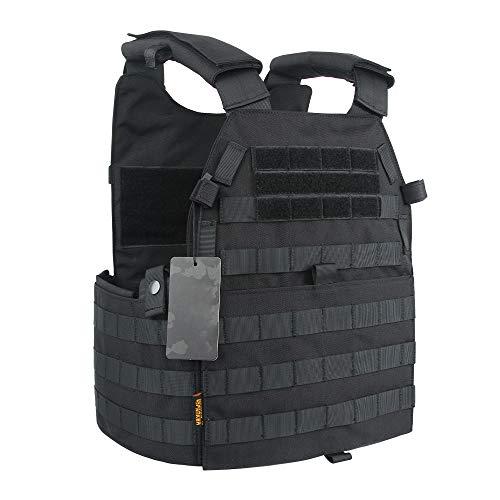 EXCELLENT ELITE SPANKER Juego de Deportes al Aire Libre molle Vest Chaleco Militar táctico Portador de Placa táctica Estilo LBT-6094(Negro)