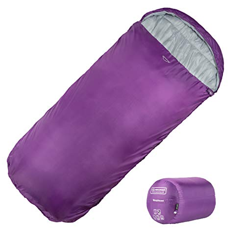 Highlander XL Schlafsack Extra großes Pod-Design, perfekt für Camping, Übernachtungen und Festivals - Leichte Einzelschlafsäcke, geeignet für Erwachsene und Jugendliche - The Sleephaven (violett)