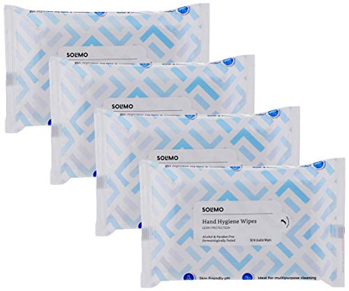 Amazon Brand – Solimo Hand Hygiene Wipes – 30 wipes/pack (Pack of 4)