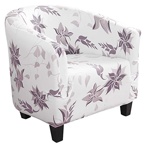 Dihope - Funda para sillón Chesterfield, funda estampada para sillón Club de cóctel, elástico, lavable, antideslizante, 1 pieza, extraíble, diseño moderno, color morado