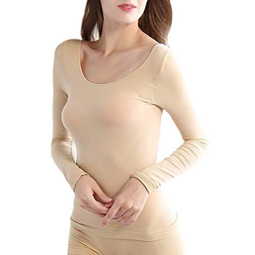 HaiDean Damen Thermounterwäsche-Set Skinny Stretch Winter Thermotop Langarm Einfarbig Jungen Chic Rundhals Unterwäsche Dicke High Waist Warme Hosen (Color : Nude, Size : One Size)
