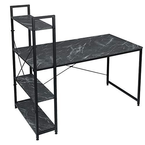 EUGAD Schreibtische Computertisch PC-Tisch Bürotisch Arbeitstisch mit Bücherregal Holz Schwarzer Marmor 120x64x120 cm 0088ZZ