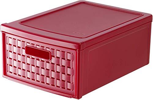 Rotho Country Schubladenbox 8.3l mit 1 Schub in Rattan-Optik, Kunststoff (PP) BPA-frei, rot, klein/8,3l (35,0 x 26,0 x 14,5 cm)