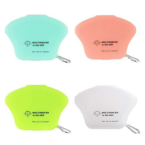 Tragbare Masken-Aufbewahrungstasche, Staubmasken-Aufbewahrungsbox zur Vermeidung von Maskenverschmutzung 4 Packung Weiß, ohne Maske