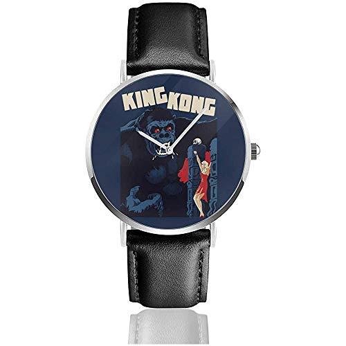 King Kong Classic Movie Poster Relojes Reloj de Cuero de Cuarzo con Correa de Cuero Negro para Regalo de colección