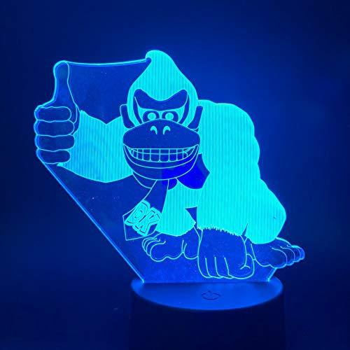 shiyueNB 3D LED nachtlampje lamp spel ezel Kong afbeelding touch schakelaar USB batterij aangedreven nachtlampje voor kinderen kind slaapkamer decor lamp 3D