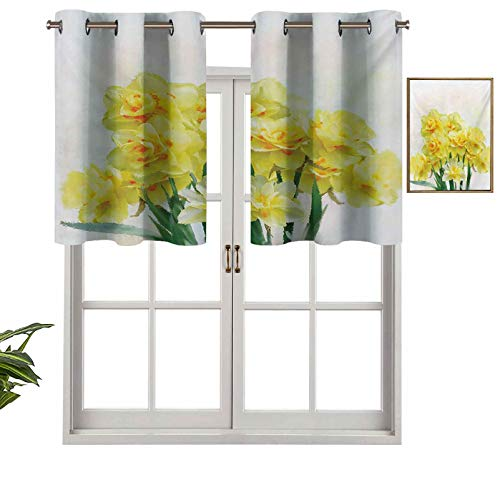 Grommet Blackout Curtains Short Curtains Valance Digital Watercolors Paint of Daffodils Bouquet Called Jonquils in England Lily, Set of 1, 50'x18' Kitchen Curtains for Living Room