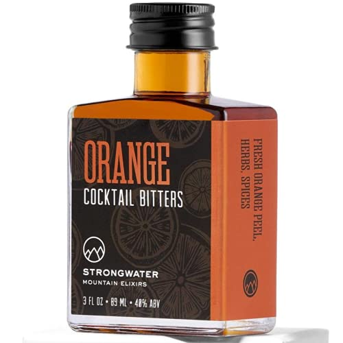 Strongwater Orange Bitters (40 Servings) - Spiced Cocktail Bitters for Old Fashioned Made with Orange Zest, Cardamom & Black Walnut - Pair with Whiskey, Bourbon, Vodka, Rum or Gin