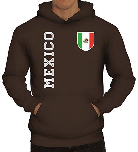 Mexiko Fußball WM Fanshirt Gruppen Herren Hoodie Männer Kapuzenpullover Fan Trikot Mexico, Größe: 3XL,braun