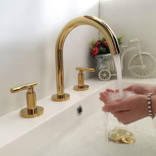 Rubinetteria per lavabo da bagno con miscelatore a 3 fori in ottone lucidato oro/nero