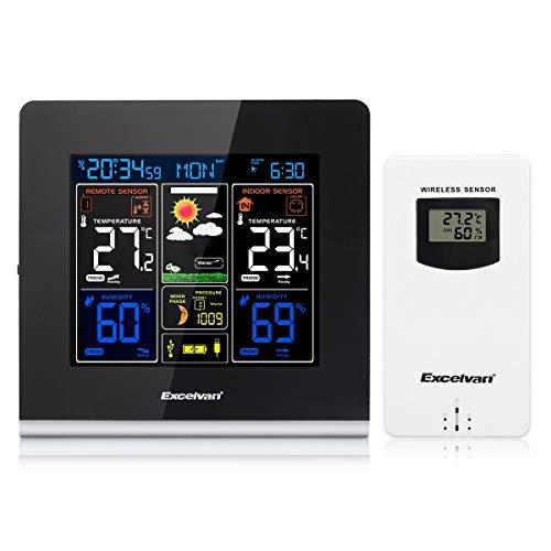XXYYKK Led Digital Rcc Estación Meteorológica Inalámbrica Pantalla LCD De Alta Definición Sensor Inalámbrico Al Aire Libre Posponer Despertador