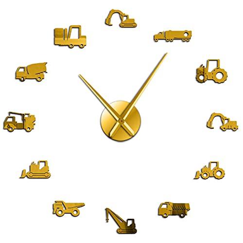 hufeng Reloj de Pared Excavadora Raspador Equipo Pesado Operador Máquina DIY Reloj de Pared Decoración Oro 37 Pulgadas