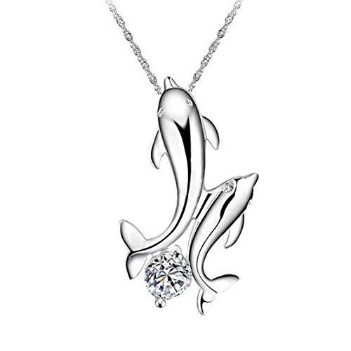 Clara Ivy Munich Delfine Delphine mit Kristall Anhänger Halskette aus 925 Sterling Silber