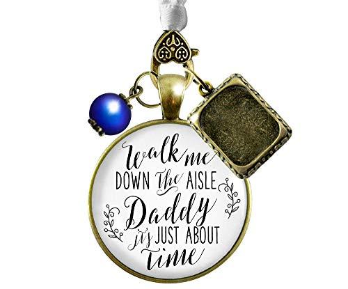 Wedding Bouquet Charm Walk Me Down Aisle Daddy Rustic Memory White Blue Photo Frame