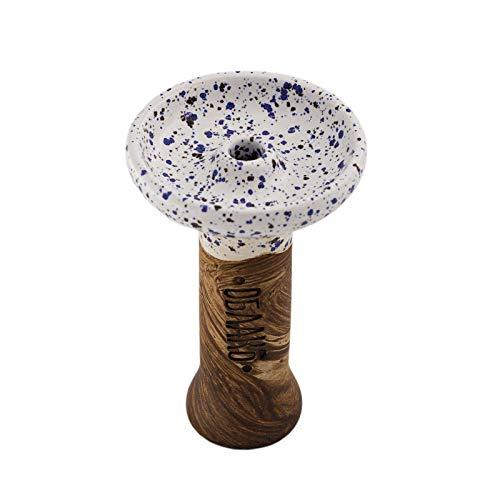 Shisha Oblako Phunnel M | Shisha Phunnel M Glazed für besonders feuchten Tabak | HMD geeignet | Oblako Shisha Kopf | Shisha Phunnel Kopf | Anfänger geeignet | Weiß/Blau gepunktet