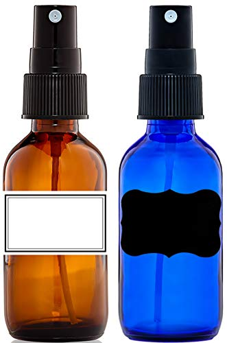 Amber and Cobalt Blue Glass Bottles 2 Oz. for Essential Oil with Black Fine Mist Sprayer Set of 2 Small Glass Spray Bottle for Aromatherapy & Cosmetic Sprays