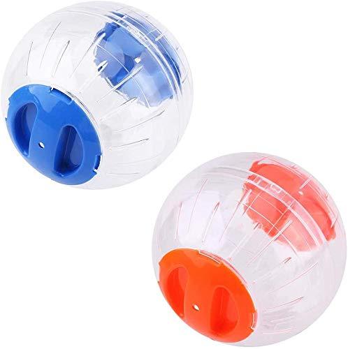 2 x Hamsterball Hamster Spielzeug Übungsball Sportball,Hamster Laufball Übungs Ball Rolle Kugel Laufkugel Joggingball Kleintiere Kunststoff Spielzeug,Blau,Gelb,14cm