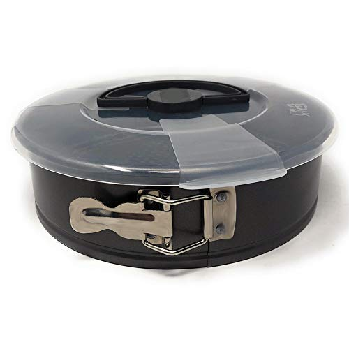 MGE - Backform mit Antihaftbeschichtung - Runde Kuchenform - Springform mit Transporthaube - Karbonstahl - Ø 24 cm - Schwarz