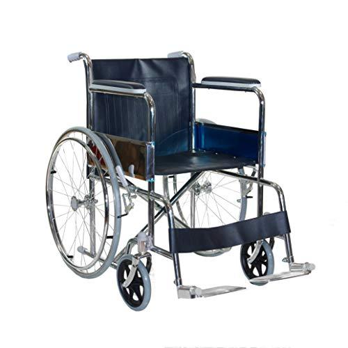 Sedia a Rotelle - CARROZZINA DISABILI leggera e pieghevole in acciaio cromato con freno per transito anziani e disabili –...