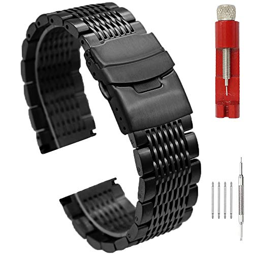 Sturdy Brushed 22mm Stainless Steel Watch Band Black Mesh Watch Strap Bracelet Double Buckle Metal Watch Band for Men Women