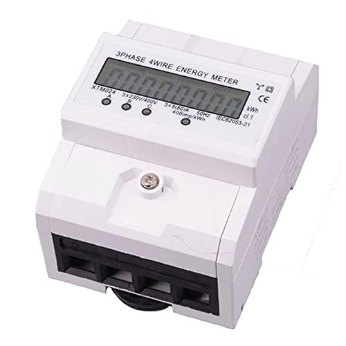 Contador de corriente digital LCD, 5 A - 80 A 50 Hz, 3 fases y 4 cables, contador de corriente digital para carril DIN