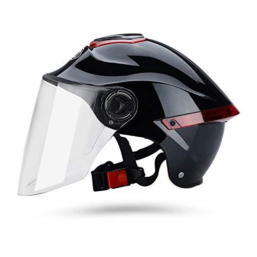 Galatée Casco de motocicleta con visera, adecuado para ciclomotores, scooters, cruceros, pase la prueba de colisión para cumplir con la seguridad vial(Negro, Lente transparente)