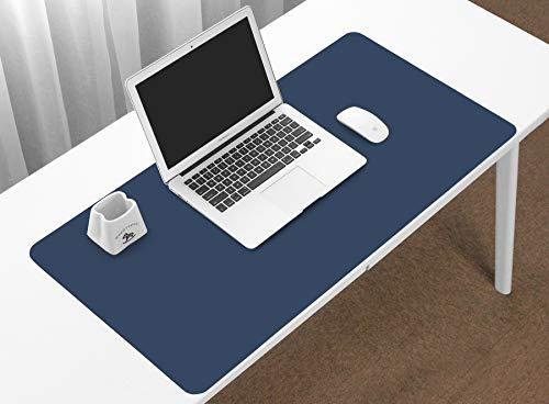 BOONA Alfombrilla de escritorio de PU doble Alfombrilla de ratón para juegos grandes Alfombrilla de escritorio Azul oscuro y amarillo 23.62 x 11.81 pulgadas