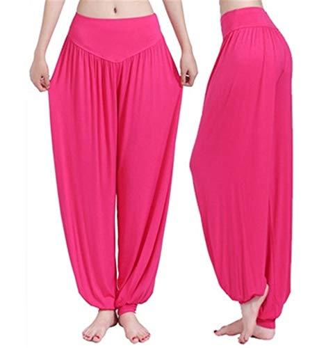 AOSUAI Pantalones de pierna ancha y pierna ancha, pantalones de yoga, pantalones sueltos, pantalones largos, yoga, danza, pantalones suaves, para el hogar (color: rojo rosa, tamaño: S.)