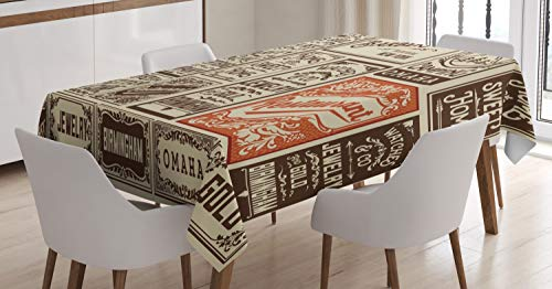 ABAKUHAUS Antiek Tafelkleed, Pack Old Advertising, Eetkamer Keuken Rechthoekige tafelkleed, 140 x 200 cm, Cream Bruin Oranje