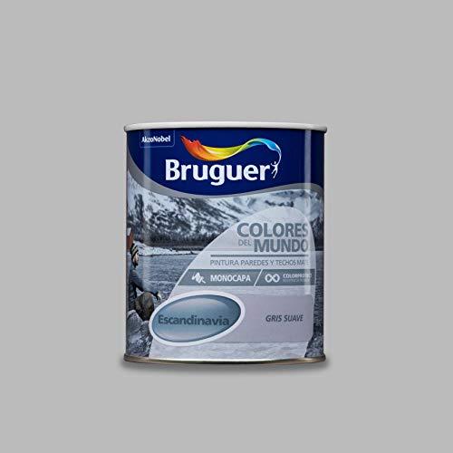 Bruguer 8429656023614 Colores del Mundo Pintura para paredes monocapa Escandinavia Gris Suave 750 ml