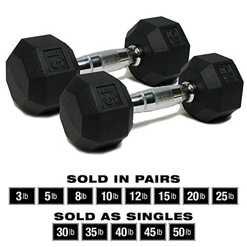 SPRI Dumbbells Deluxe Rubber Coated Hand Weights All-Purpose Color Coded Dumbbell for Strength Training (Set of 2) (15-Pound)