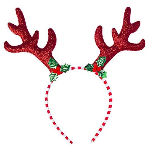 S-TROUBLE Adulti Bambini Natale Glitter Paillettes Fascia Cartone Animato Cappello di Babbo Natale Corna di Renna Fiocco di Neve Colorato Cerchio di Capelli Puntelli per Feste