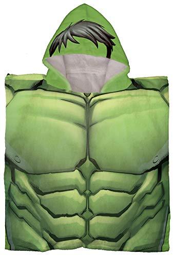 Jay Franco Marvel Avengers Hulk - Poncho con capucha para baño/piscina/playa - Toalla de algodón supersuave y absorbente, medidas 60 x 28 cm (producto oficial de Marvel)