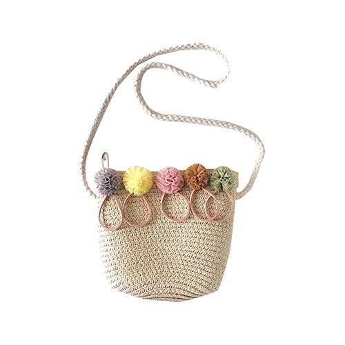 GPWDSN Mini Stroh Tasche Kleine Rattan Handmade Vine Tasche Strandtasche Aufbewahrungstasche für Frauen Korb Geflochtene Tasche, beige (Beige)
