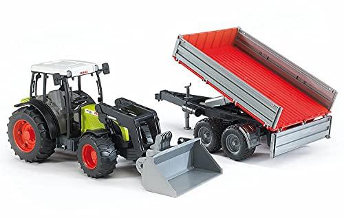 Bruder Bruder-2112 2112-Tractor Claas Nectis 267F con Pala Frontal y Remolque, Multicolor (2112)