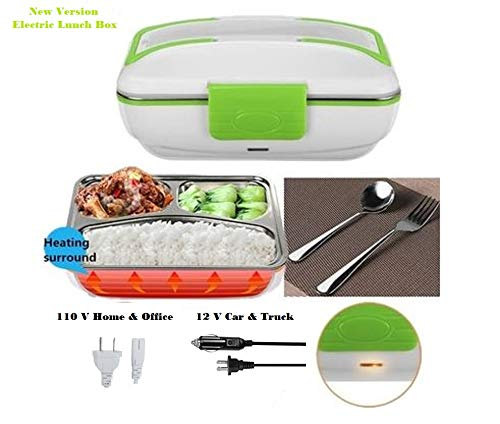 Portable Electric Food Warmer Lunch Box with 12 V for Car and 110 V for Office or Home. Easy to Clean Removable 304 Stainless Steel Container by Aim Goods