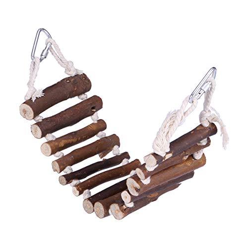 UEETEK Naturals Escalera de Cuerda Aves Juguete Puente Flexible Columpio Escalera para Entrenamiento Mascotas Loros