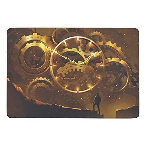 XMbeirui Alfombra creativa de gran área suave antideslizante de terciopelo coral alfombra se puede lavar hombre de pie en la parte delantera del gran reloj de oro ilustración