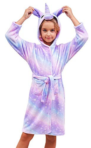 Doctor Unicorn Soft Unicorn Hooded Galaxy Bathrobe - Unicorn Gifts for Girls (Purple, 10-11Years)