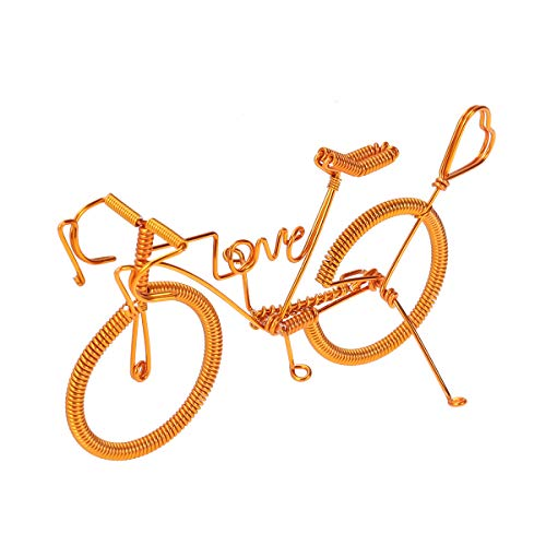 YeahiBaby Metall Fahrrad Figuren Modell Retro Figurine Miniaturen Fahrrad Tischdeko Radfahrer Geschenk (Gold)
