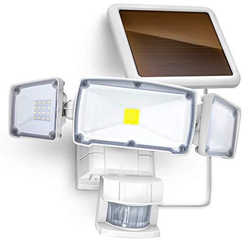 Home Zone Security Motion Sensor Outdoor Light - Solar Outdoor Weatherproof Triple Head Security Flood Light, White