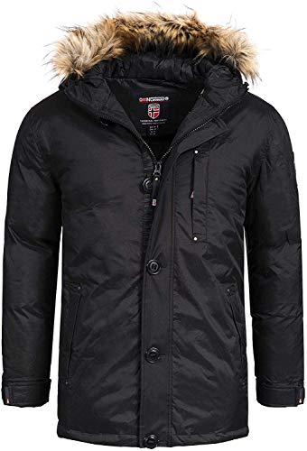 Geographical Norway Herren Parka Agada Men Outdoor Winterparka (L, Schwarz (Black))